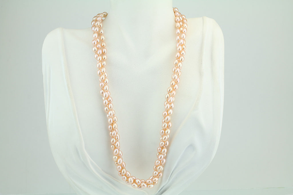 Triple Strand Peach Freshwater Pearl Necklace