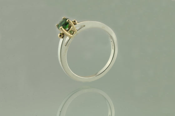 Chrome Tourmaline Sterling Silver and 14kt Gold Ring