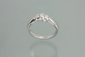 1/5 CT 3 Stone 14KT White Gold Diamond Ring
