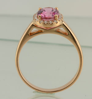Tourmaline with Diamond Halo 18 Karat Rose Gold Ring