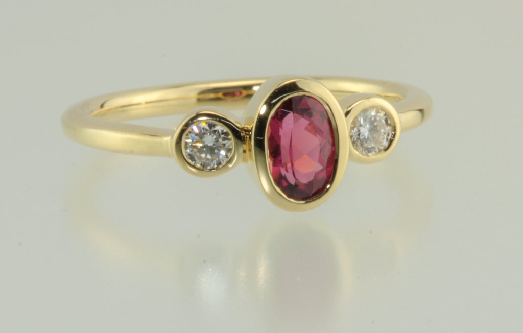 Tourmaline and Diamond Bezel Set 18ky Yellow Gold Ring