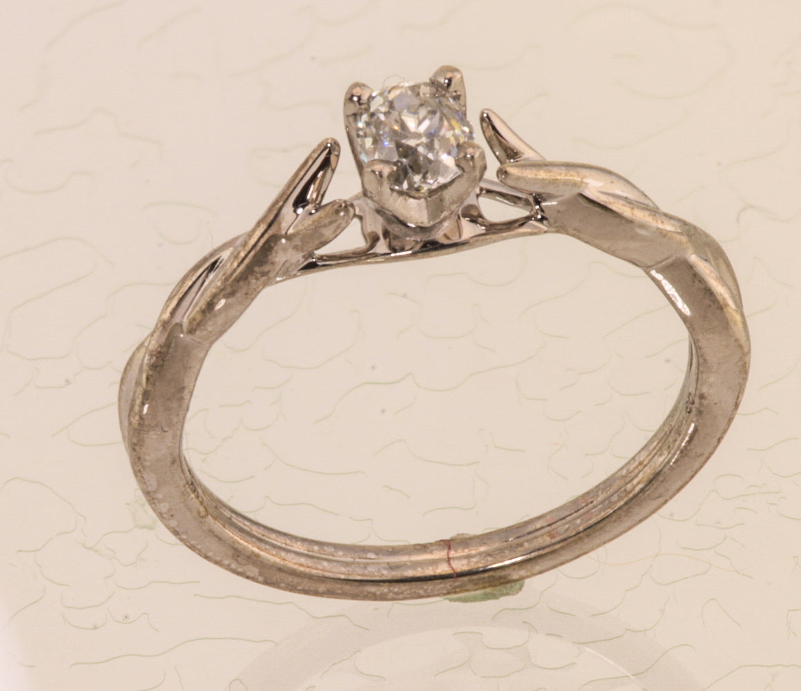 Antique Cut Diamond White Gold Ring
