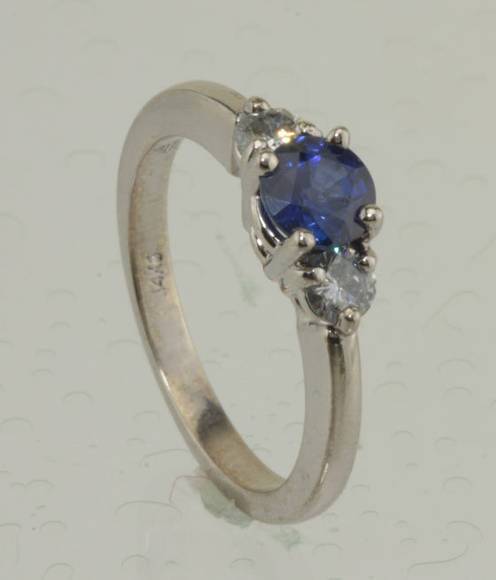 Sapphire and Diamond 14kt White Gold Ring