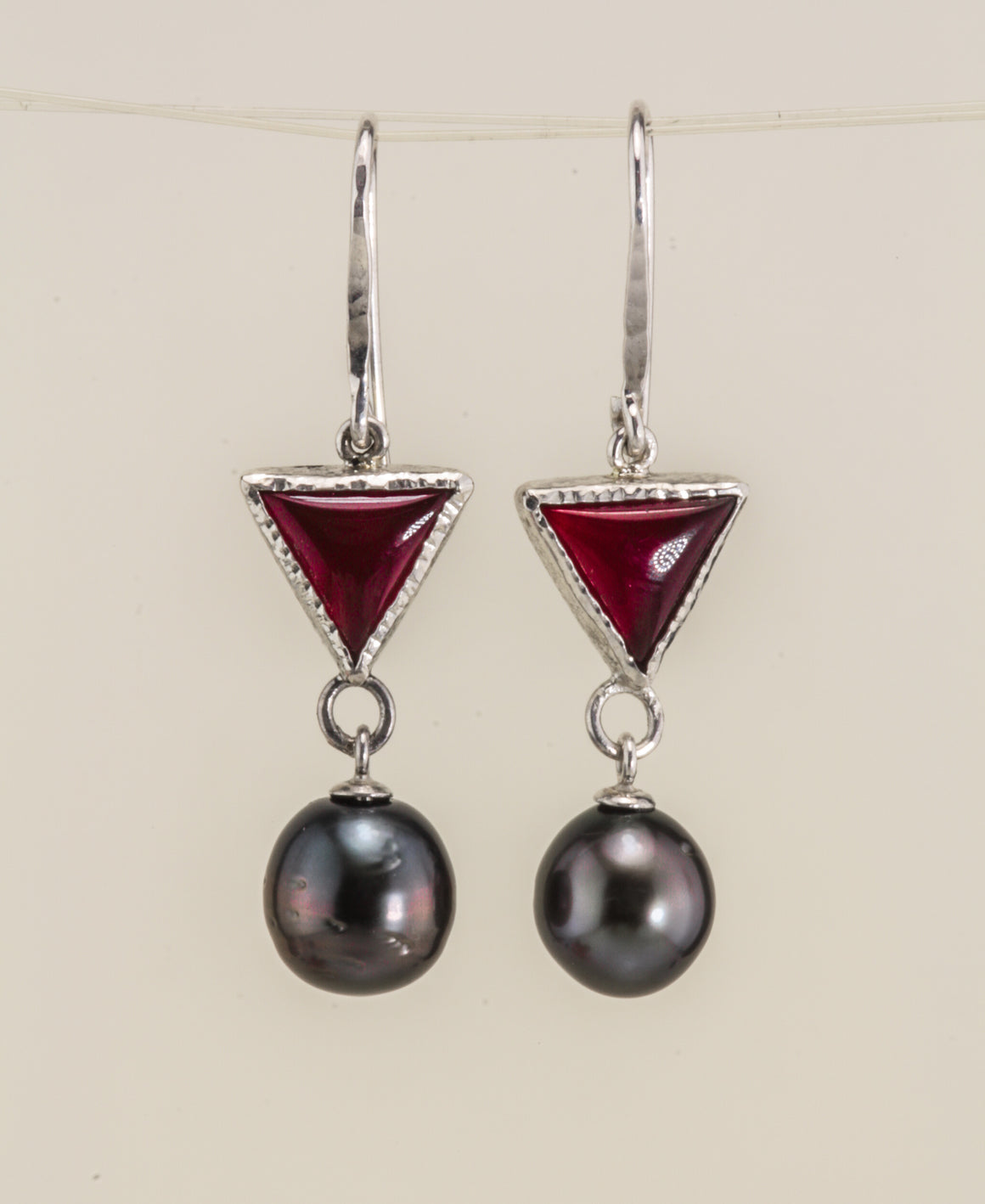 Cook Island South Sea Pearl Carnelian Sterling earring