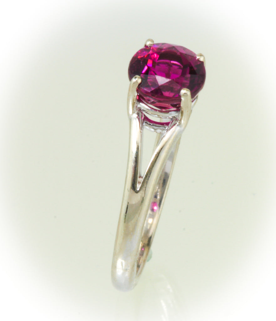 Red Tourmaline White Gold Ring