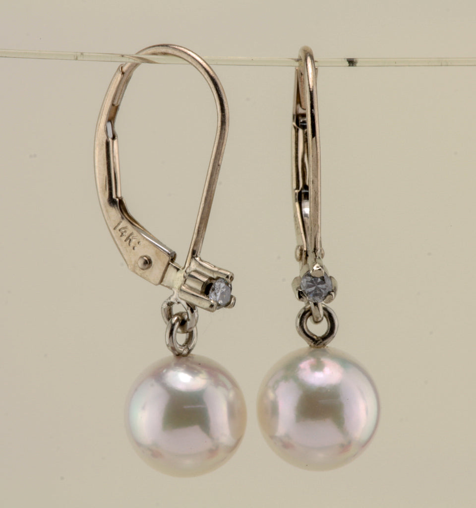 Akoya Pearl with Diamond 14kt white gold earring