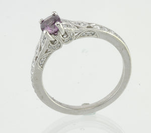 Purple Sapphire & Diamond White Gold Ring