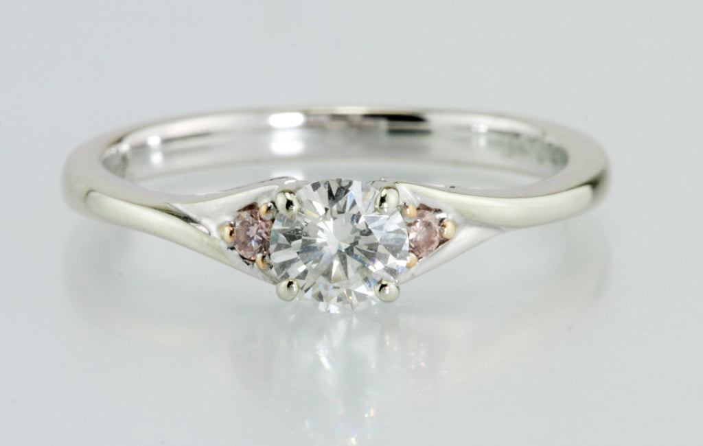 .37 Carat Diamond 18kt Ring With Pink Diamond Accent