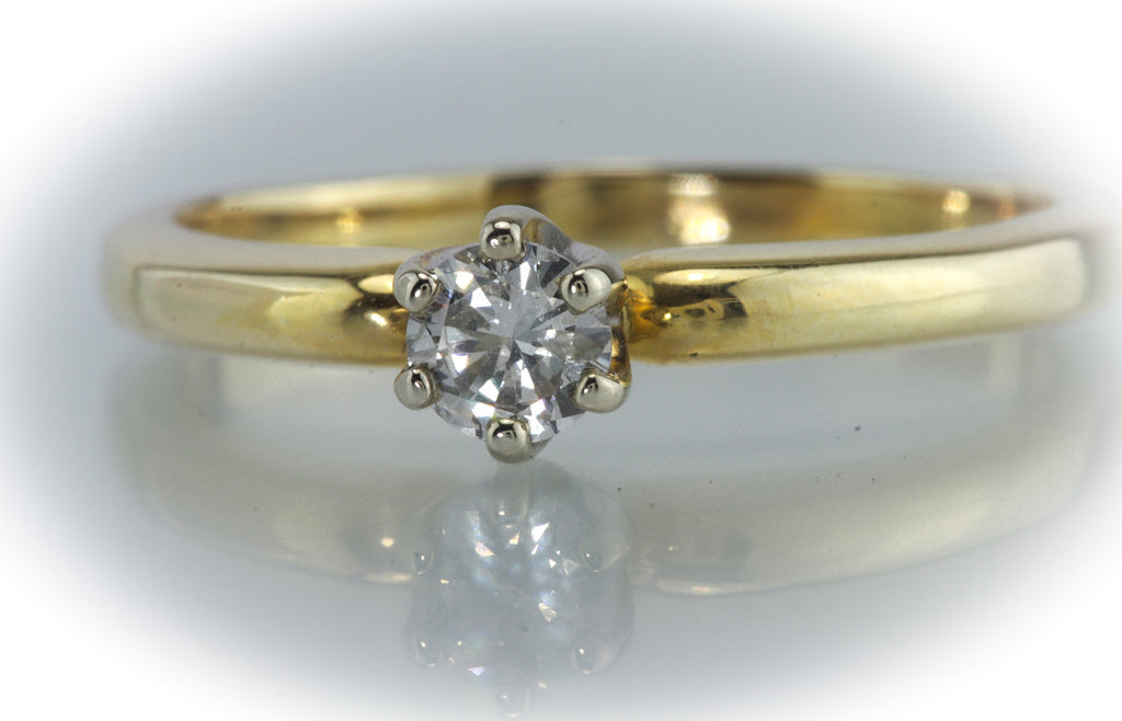1/3 Carat 14kt Two Tone Diamond Solitaire
