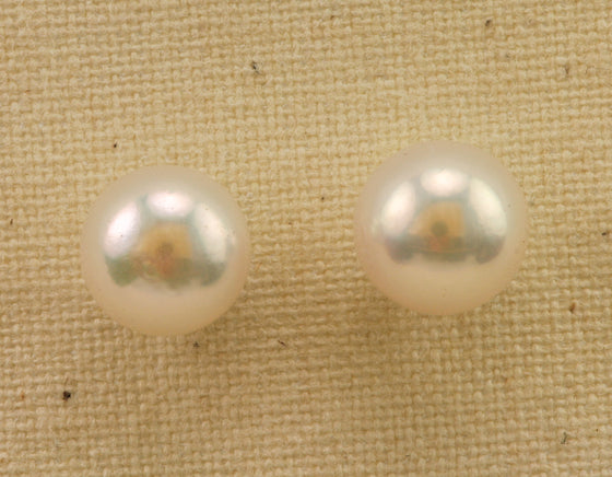 7.5mm Gem Grade Akoya Pearl Gold Earrings