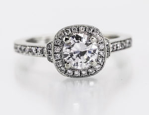 .71 Carat F SI1 Diamond (1.09ct tw) 14kt White Gold Halo Ring
