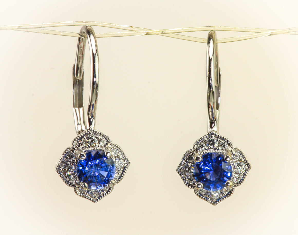 Sapphire & Diamond White Gold Earrings