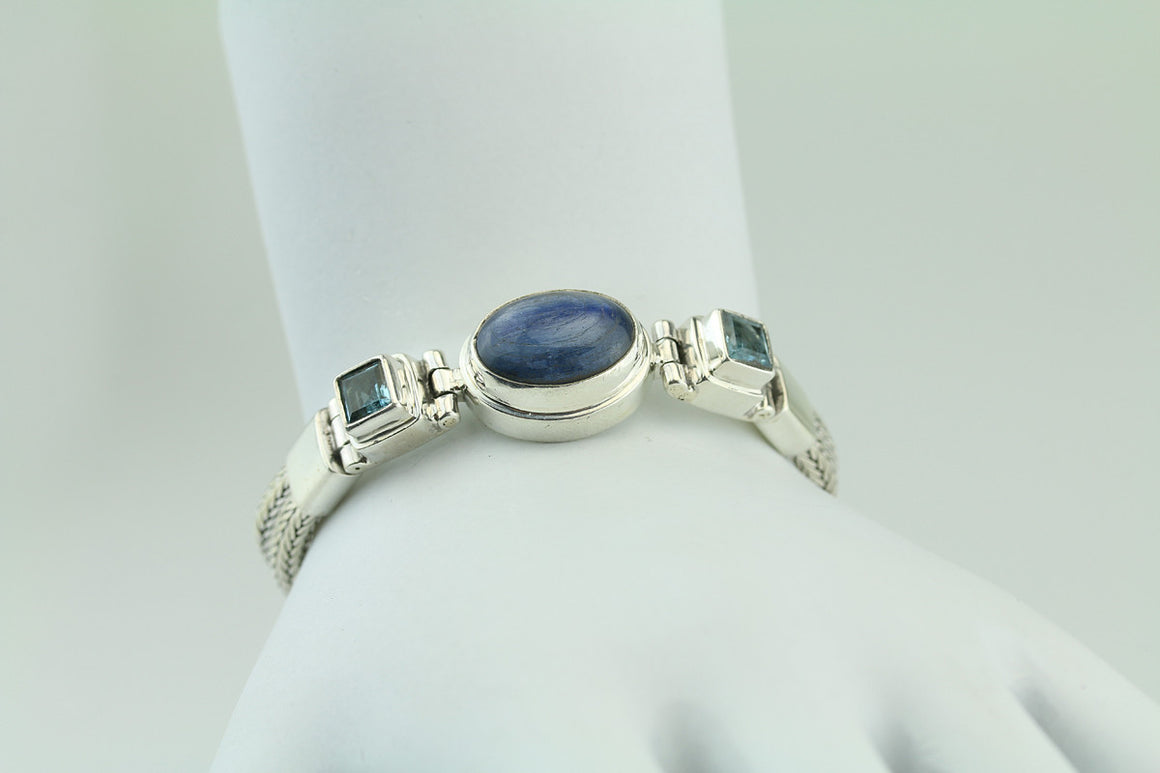Sterling Silver Kyanite & Blue Topaz Bracelet