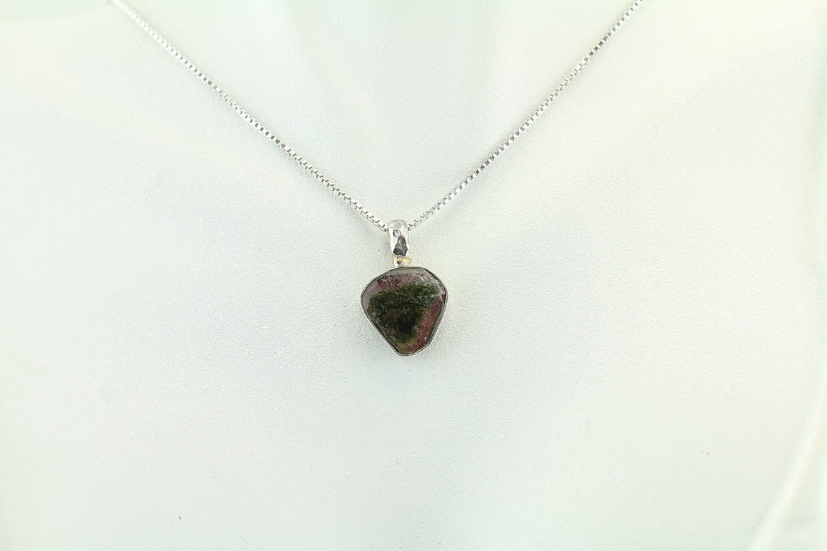 Watermelon Tourmaline Sterling Silver Pendant