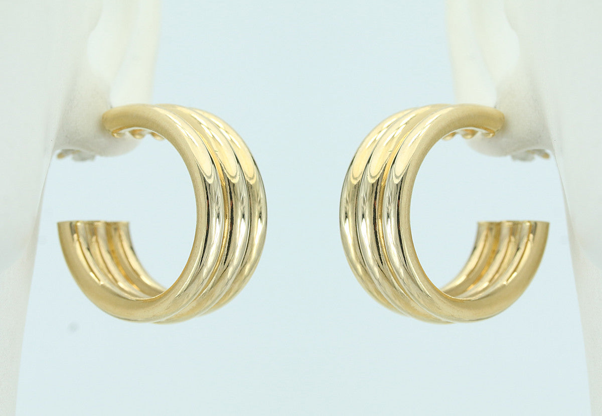 14KT Yellow Gold Post Hoop Earrings