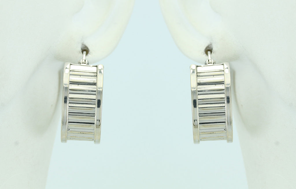 14KT White Gold Hinged Hoop Earrings