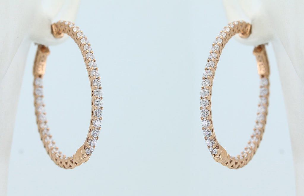 Cubic Zirconia Rose Vermail Hinged Hoop Earrings