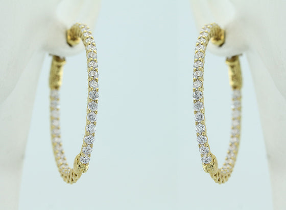 Cubic Zirconia Yellow Vermeil Hinged Hoop Earrings
