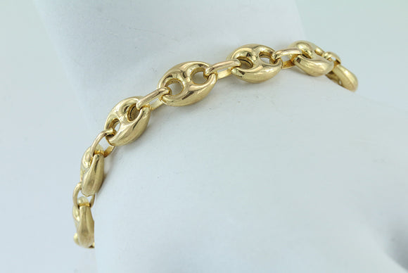 14kt Gold Puffed Anchor Bracelet 7.75""