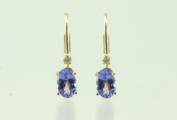 Tanzanite and Diamond 14kt White Gold Leverback Earrings