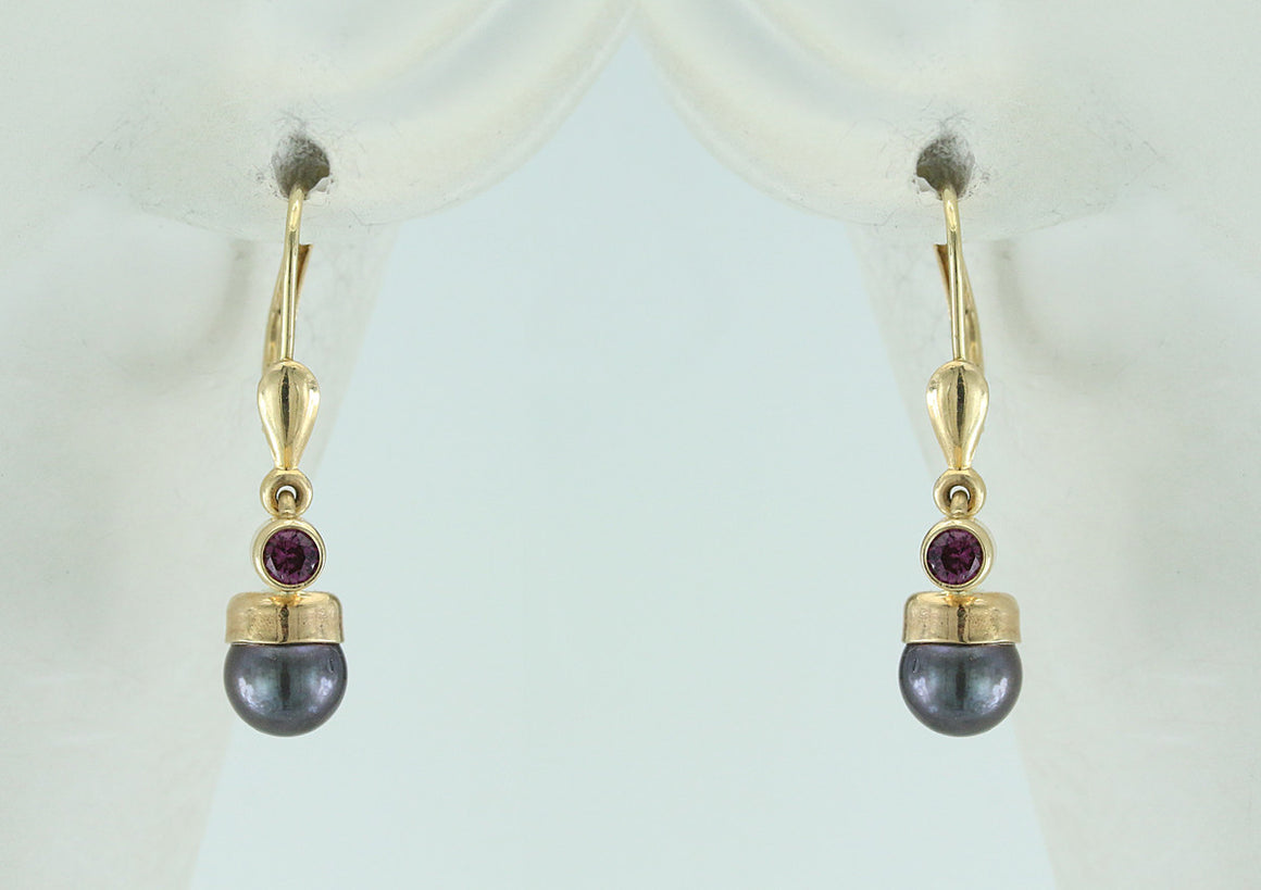Garnet and Pearl Gold Filled Earrings