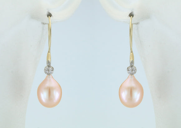 Freshwater Pearl and Diamond 14kt Gold Earrings