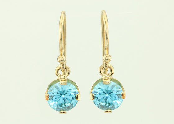 3.29ct Blue Zircon 7mm 14kt Gold Dangle Earrings