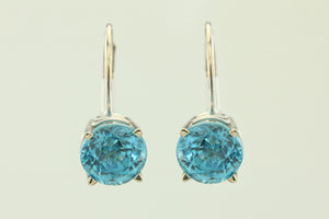 Blue Zircon 14KT White Lever Earrings