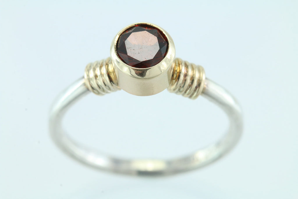 Garnet Sterling Silver and 14kt Gold Ring