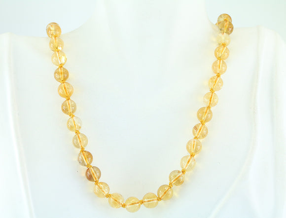 "19"" Citrine Beaded Necklace"