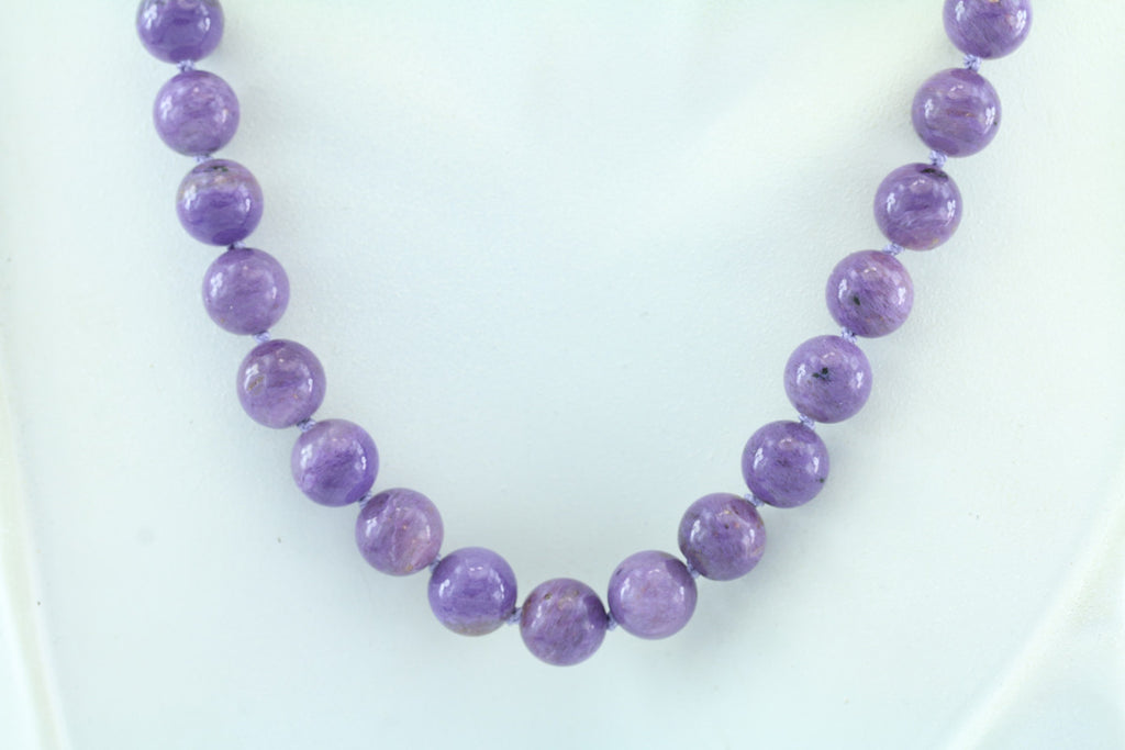 "Charoite 8mm Beaded Necklace 20"" Sterling Clasp"