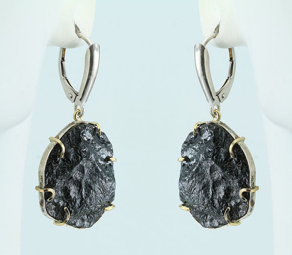 Black Tourmaline Crystal 1kt Gold and Sterling Silver Earrings
