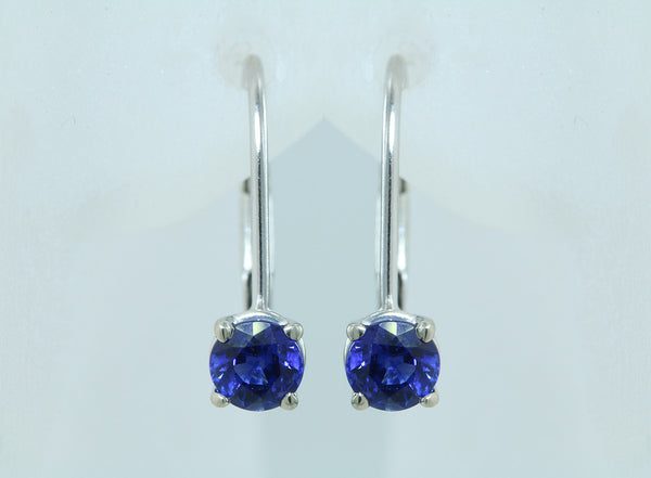 .61ct Sapphire 14kt White Gold Lever Back Earrings