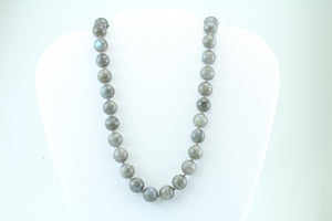 Labradorite 12mm Beaded Necklace 16""