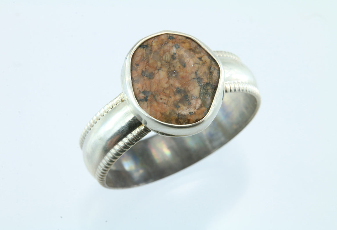 Maine Pink Granite Beach Stone Sterling Silver Ring
