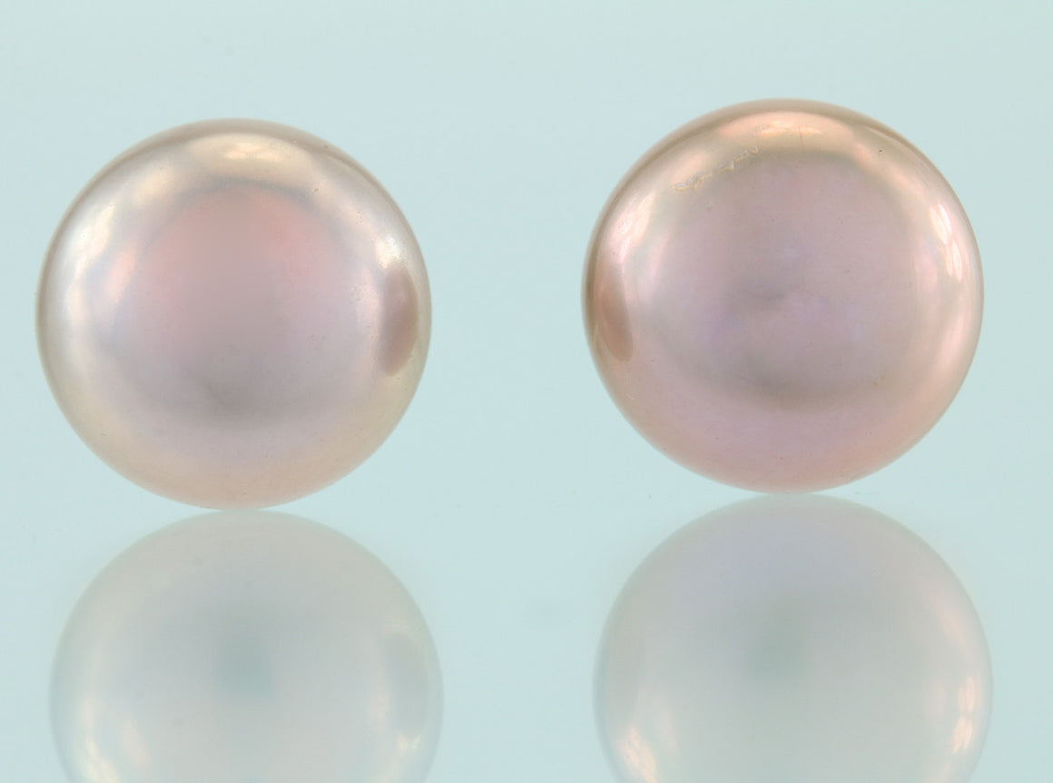 Lavender Freshwater Pearl Button Sterling Silver Studs 9.5-10mm