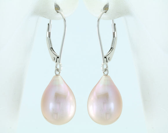 Lavender Freshwater Pearl Drop 14kt White Gold Lever Back Earrings 8-8.5mm