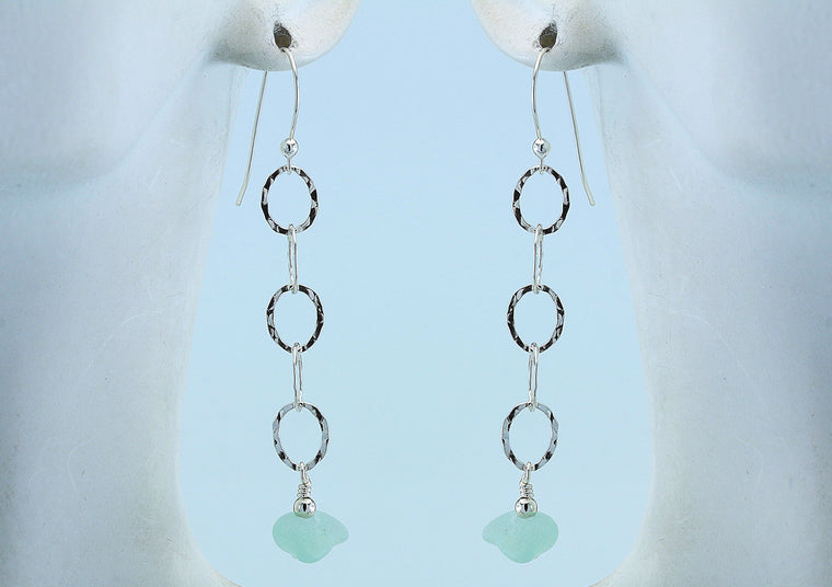 Soft Green Sea Glass Sterling Silver Slender Curve Link Bead Earrings