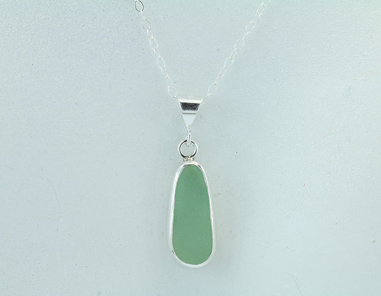 Soft Green Sea Glass Sterling Silver Baby Splash Pendant