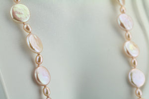 Freshwater Coin Pearl Necklace 21""