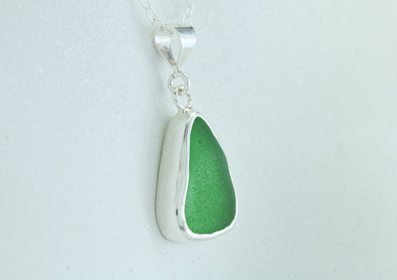Emerald Green Sea Glass Sterling Silver Baby Splash Pendant