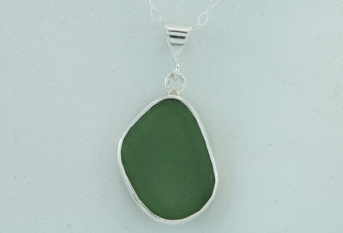 Emerald Green Sea Glass Baby Splash Sterling Silver Pendant