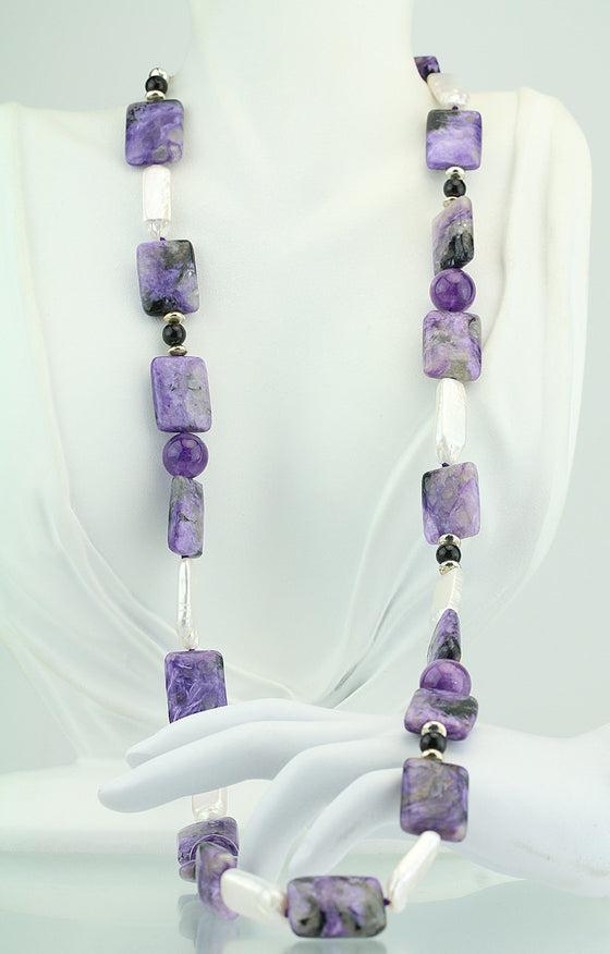 "29"" Charoite, Amethyst, Pearl & Onyx Beaded Necklace"