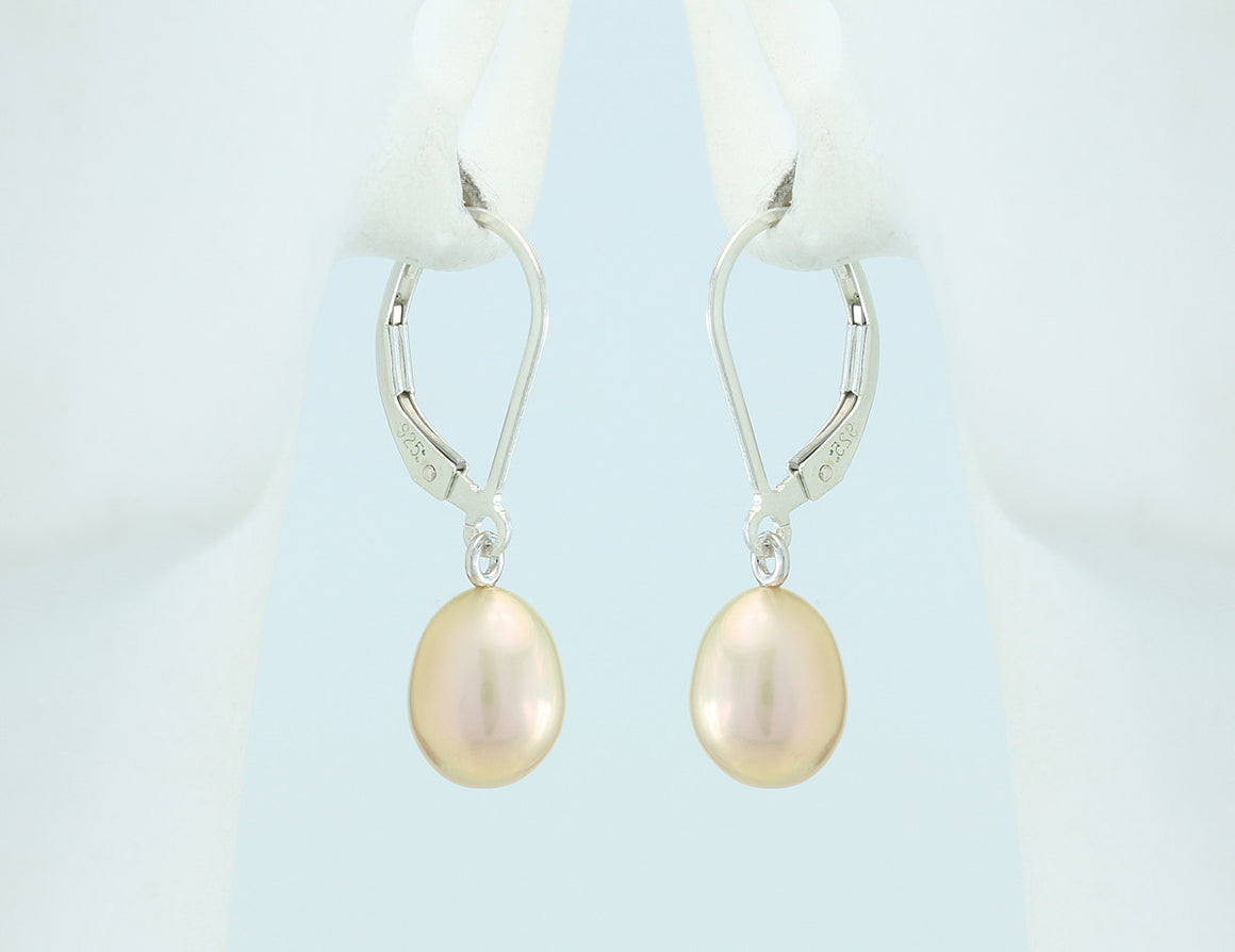 Peach Freshwater Pearl Sterling Silver Lever Back Earrings