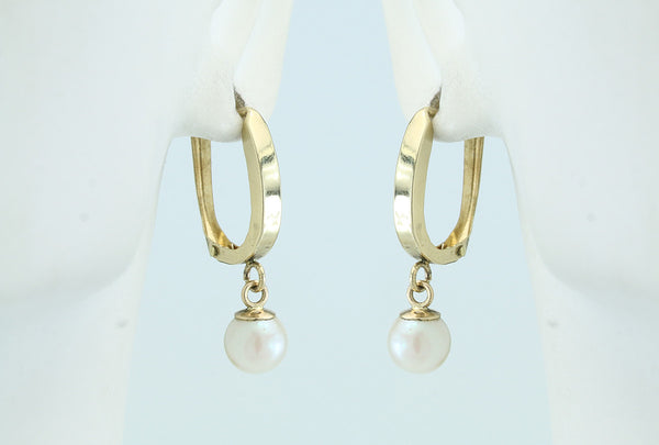Akoya Saltwater Pearl 14kt Gold Horseshoe Lever Back Earrings