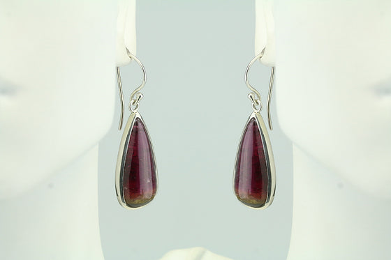 Bicolor tourmaline sterling earrings