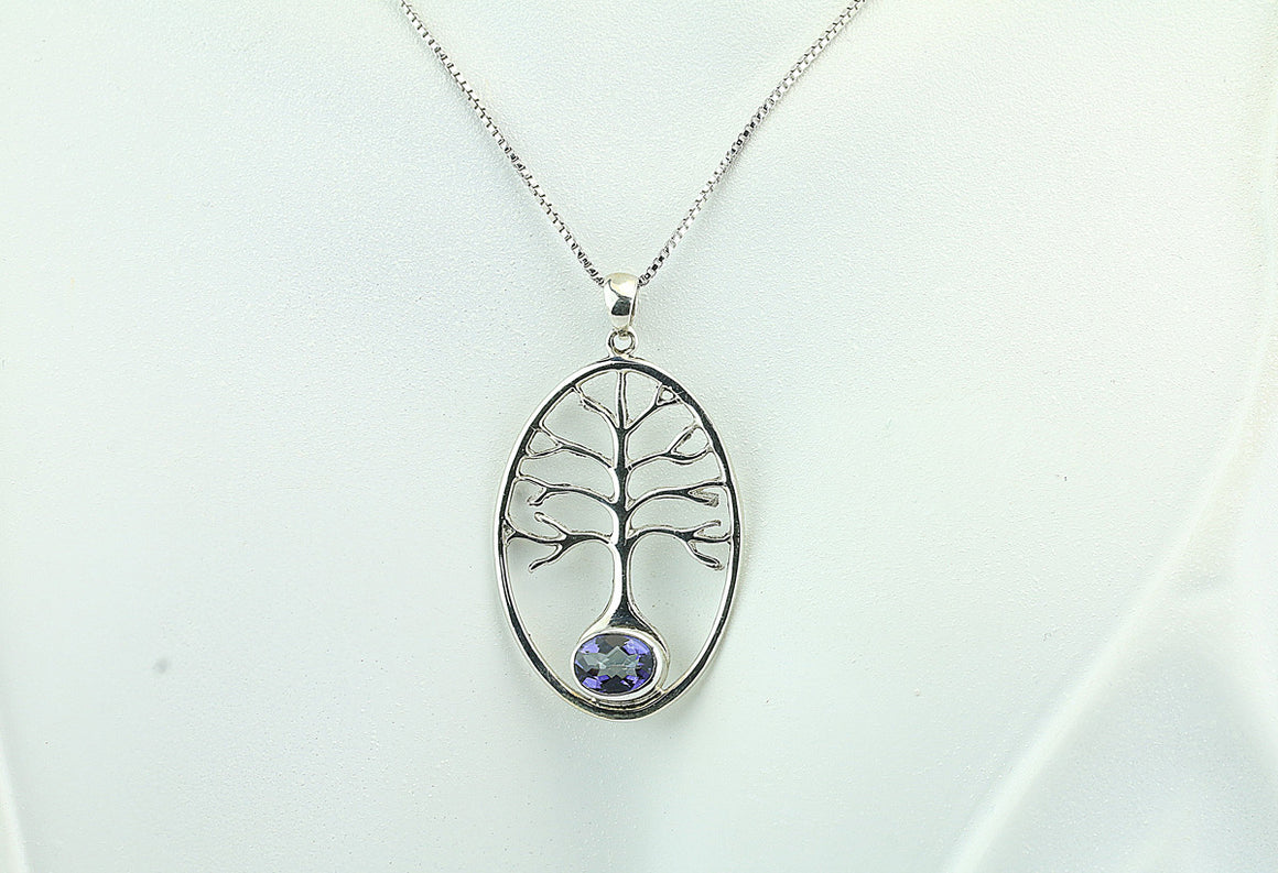 Sterling Silver Blue Quartz Tree Pendant