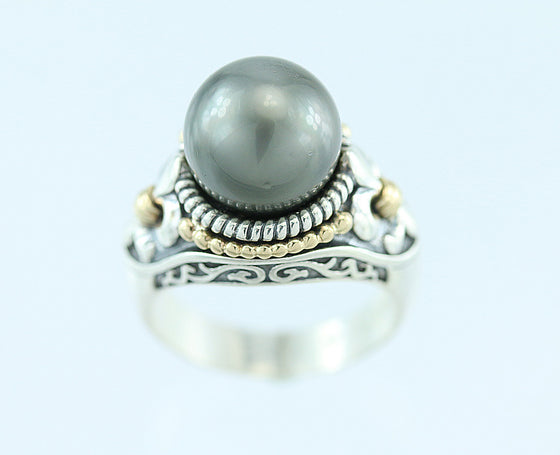 Cook Island South Sea Pearl Sterling and 14kt Gold Ring