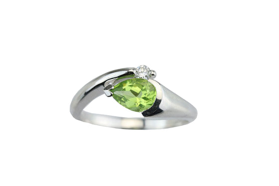 Peridot & Diamond 14KT White Gold Ring