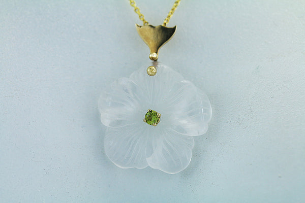 Carved Maine Quartz Flower and Green Maine Tourmaline 14kt Gold Pendant